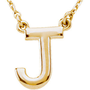 14k Yellow Gold Letter J Initial Necklace 16in