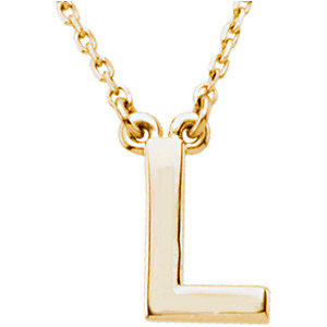 14k Yellow Gold Letter L Initial Necklace 16in