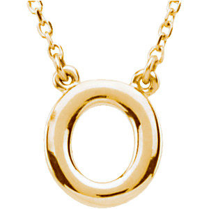 14k Yellow Gold Letter O Initial Necklace 16in
