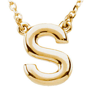 14k Yellow Gold Letter S Initial Necklace 16in