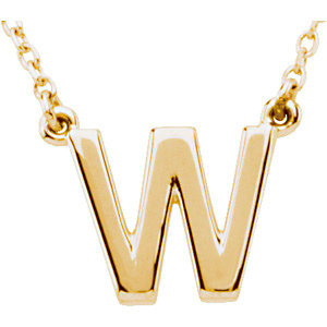 14k Yellow Gold Letter W Initial Necklace 16in