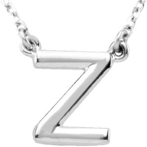 Sterling Silver Block Initial Z 16in Necklace