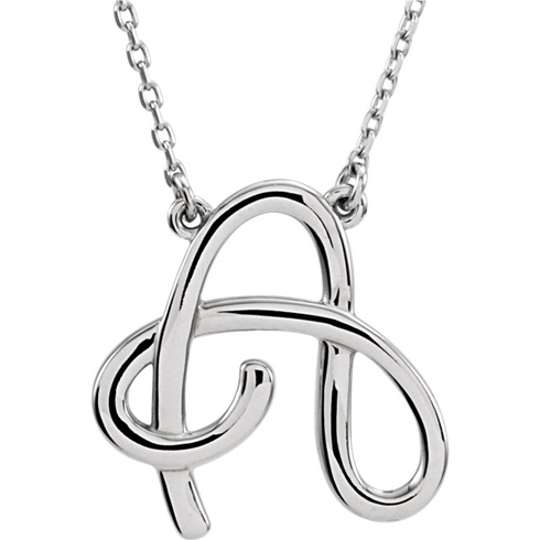 Sterling Silver Script Initial A 16in Necklace