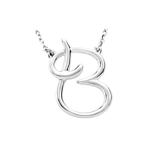 Sterling Silver Script Initial B 16in Necklace