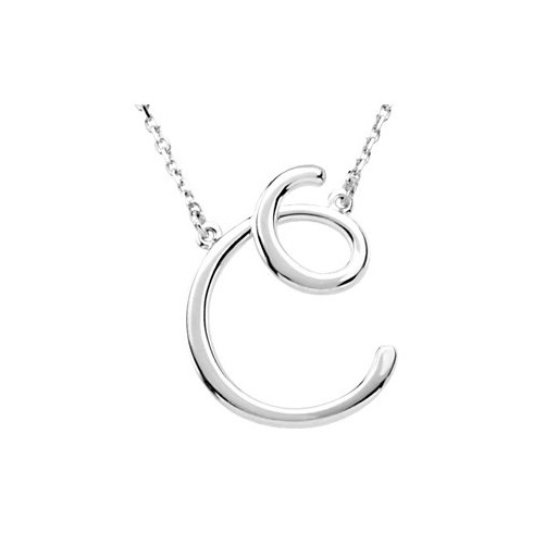 Sterling Silver Script Initial C 16in Necklace