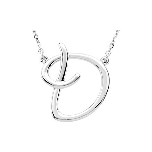 Sterling Silver Script Initial D 16in Necklace