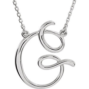 Sterling Silver Script Initial G 16in Necklace