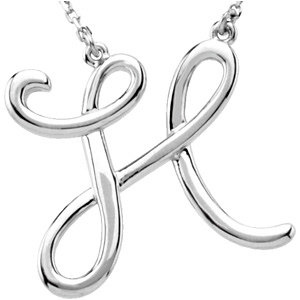 Sterling Silver Script Initial H 16in Necklace