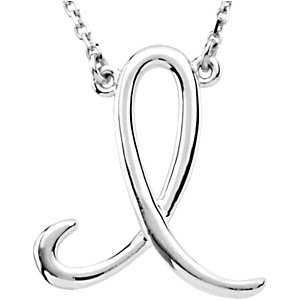 Sterling Silver Script Initial I 16in Necklace