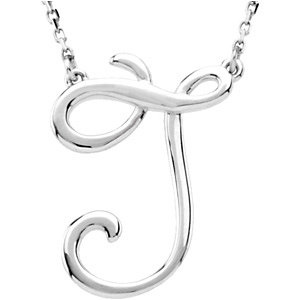 Sterling Silver Script Initial J 16in Necklace
