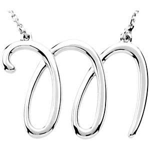 Sterling Silver Script Initial M 16in Necklace