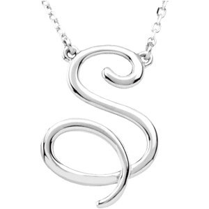 Sterling Silver Script Initial S 16in Necklace