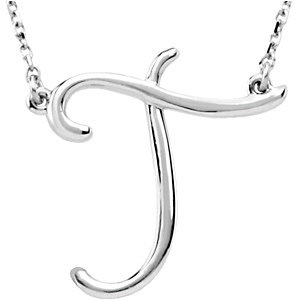 Sterling Silver Script Initial T 16in Necklace