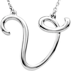 Sterling Silver Script Initial V 16in Necklace