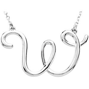 Sterling Silver Script Initial W 16in Necklace