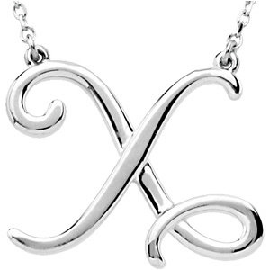 Sterling Silver Script Initial X 16in Necklace