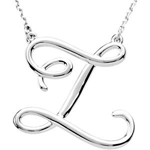 Sterling Silver Script Initial Z 16in Necklace