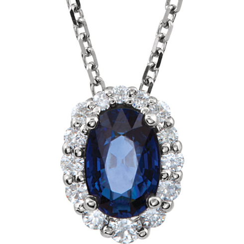14k White Gold 2/3 ct Oval Blue Sapphire and 1/6 ct Diamond Necklace