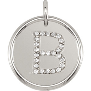 Sterling Silver Letter B Round Pendant with Diamonds