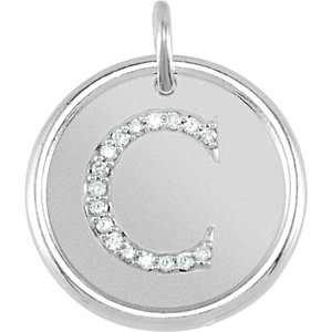Sterling Silver Letter C Round Pendant with Diamonds