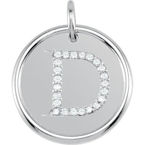 Sterling Silver Letter D Round Pendant with Diamonds