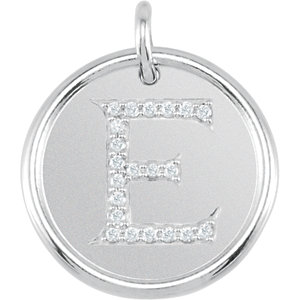 Sterling Silver Letter E Round Pendant with Diamonds