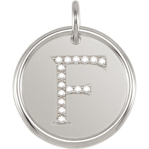 Sterling Silver Letter F Round Pendant with Diamonds