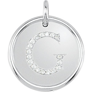 Sterling Silver Letter G Round Pendant with Diamonds