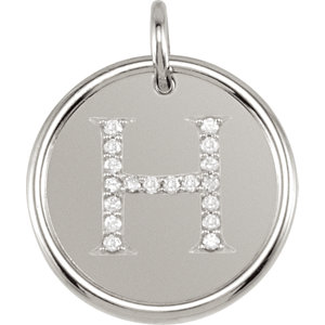 Sterling Silver Letter H Round Pendant with Diamonds