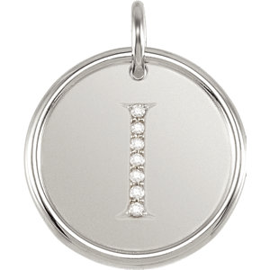 Sterling Silver Letter I Round Pendant with Diamonds
