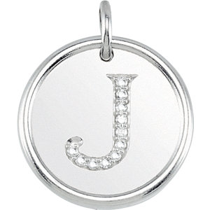 Sterling Silver Letter J Round Pendant with Diamonds