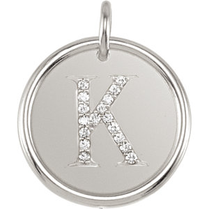 Sterling Silver Letter K Round Pendant with Diamonds