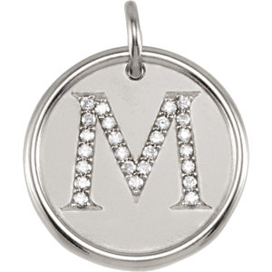 Sterling Silver Letter M Round Pendant with Diamonds