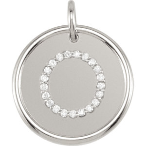 Sterling Silver Letter O Round Pendant with Diamonds
