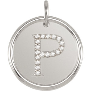 Sterling Silver Letter P Round Pendant with Diamonds