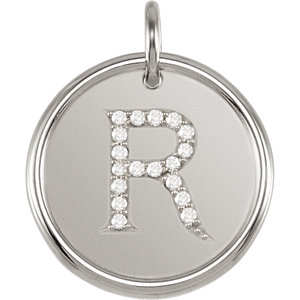 Sterling Silver Letter R Round Pendant with Diamonds