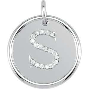 Sterling Silver Letter S Round Pendant with Diamonds