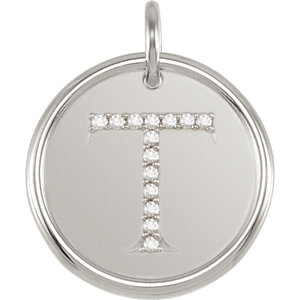 Sterling Silver Letter T Round Pendant with Diamonds