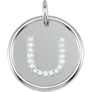 Sterling Silver Letter U Round Pendant with Diamonds