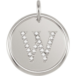 Sterling Silver Letter W Round Pendant with Diamonds