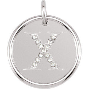 Sterling Silver Letter X Round Pendant with Diamonds