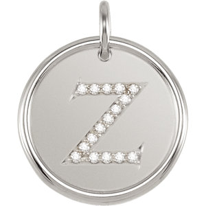 Sterling Silver Letter Z Round Pendant with Diamonds