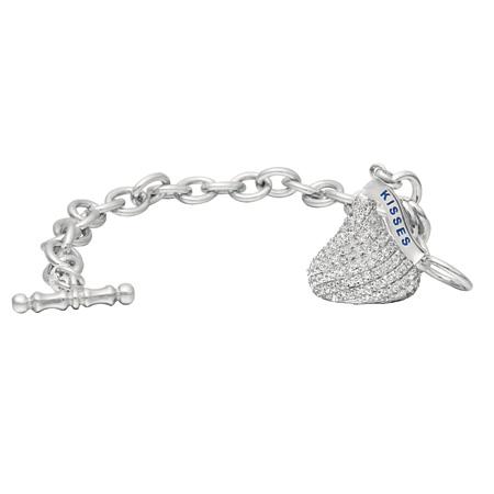 Sterling Silver 3D HERSHEY'S KISSES Cubic Zirconia Charm Bracelet