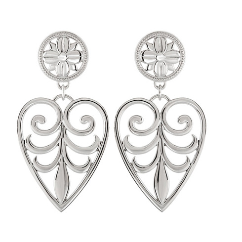Sterling Silver Fashion Heart Earrings