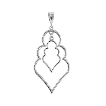 Sterling Silver Pointed Fashion Pendant 1 3/4in