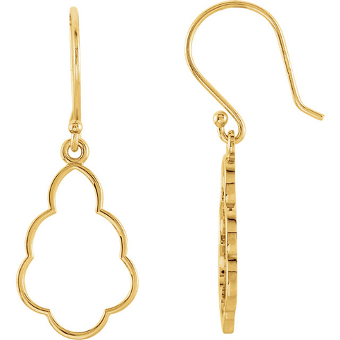 14kt Yellow Gold Small Curled Teardrop Dangle Earrings