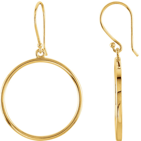 14kt Yellow Gold 3/4in Round Dangle Earrings