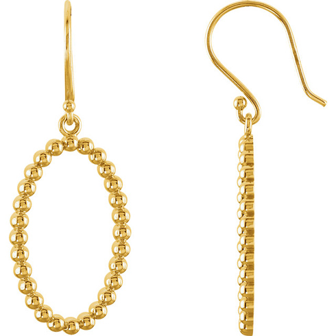 14kt Yellow Gold 3/4in Beaded Oval Dangle Earrings