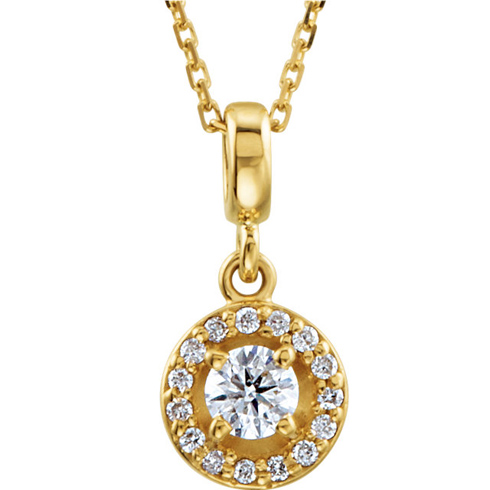 14kt Yellow Gold Halo-Styled 1/4 ct Diamond Necklace