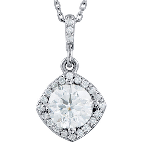 14kt White Gold Halo 3/8 ct Diamond Necklace